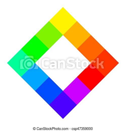 Twelve Unique Color Hues Of Color Wheel Square Shape Twelve Unique