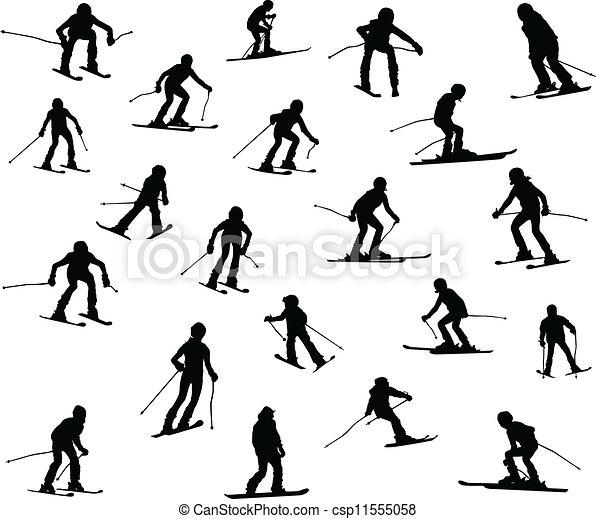 Twenty one silhouette of skiers. - csp11555058