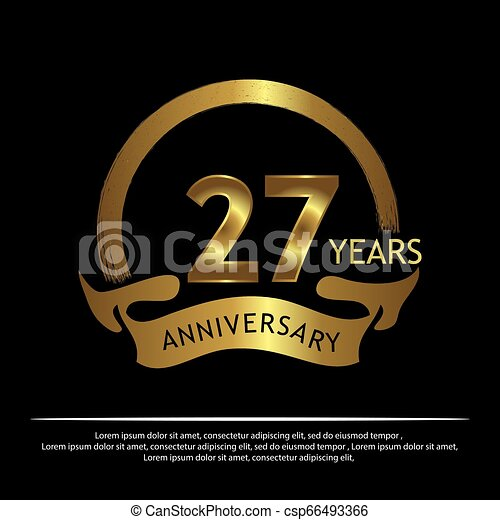 Twenty seven years anniversary golden. anniversary template design for web, game ,Creative poster, booklet, leaflet, flyer, magazine, invitation card - Vector - csp66493366
