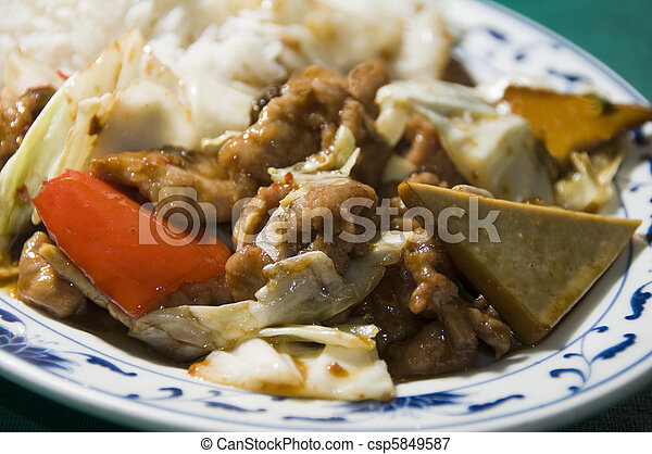 twice cooked pork with mixed chinese vegetables - csp5849587