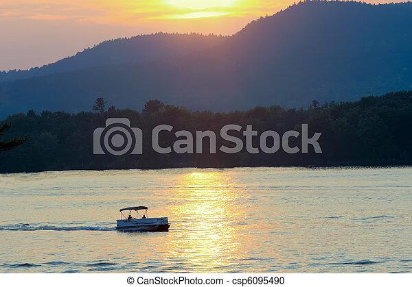 Twilight on Lake George and Adirondack Mountains. - csp6095490