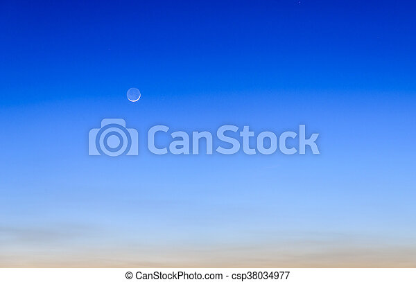 twilight sky with the moon - csp38034977
