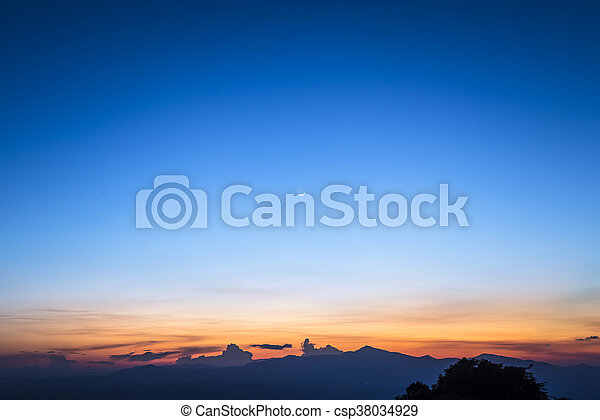 twilight sky with the moon - csp38034929