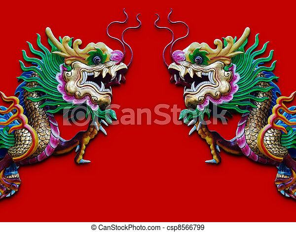 Twin Chinese Dragon Statue Isolated On Red Background With Shadow