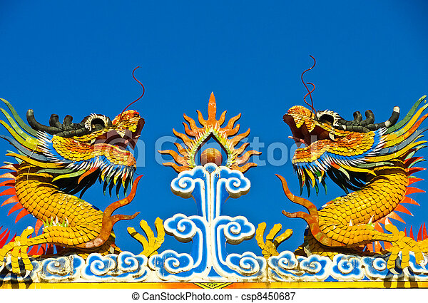 Twin dragon statues in Chinese - csp8450687