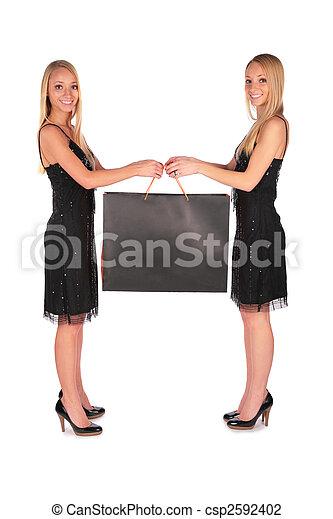 Twin girls holding bag - csp2592402