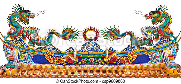 Twin statue of dragons on the roof - csp9609860