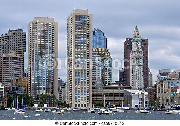 twin towers and custom house from boston harbor - csp0718542