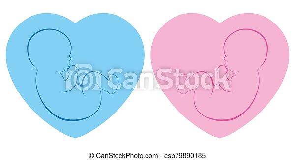 Twins Hearts Babies Boy Girl Blue Pink Outline Illustration Birth Symbol - csp79890185