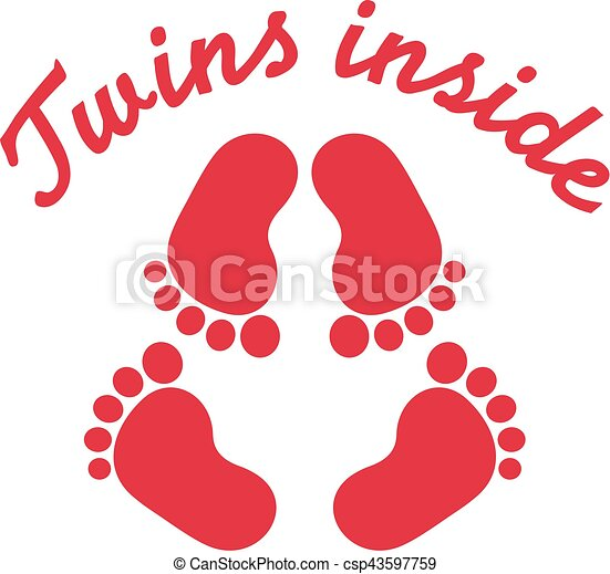 twins inside with baby footprint clipart vector search rh canstockphoto com baby girl footprints clip art baby boy footprints clip art