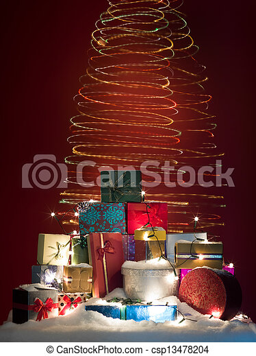 twirly colorful christmas lights with presents - csp13478204