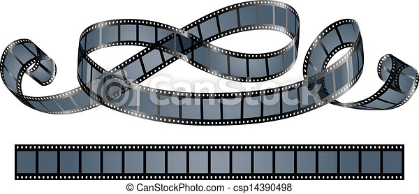 twisted film reel isolated on white background eps10 vector