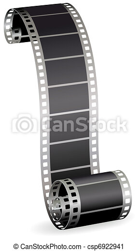 twisted film strip roll for photo or video on white background vector illustration - csp6922941