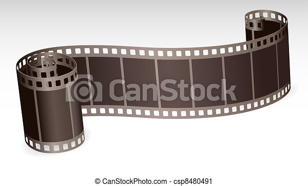 twisted film strip roll for photo or video on white background vector illustration - csp8480491