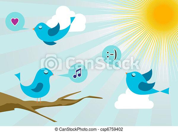 Twitter birds at social media sunrise - csp6759402
