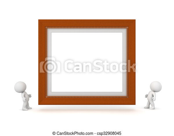 Two 3D Characters Looking Up at Large Decorated Diploma Frame - csp32908045