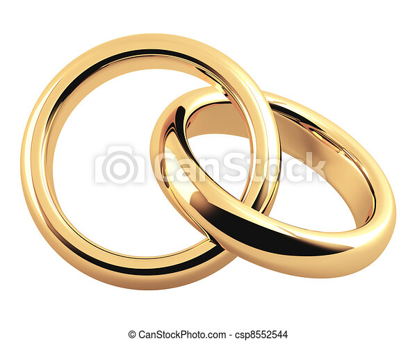 Two 3d gold wedding ring objects isolated over white drawing