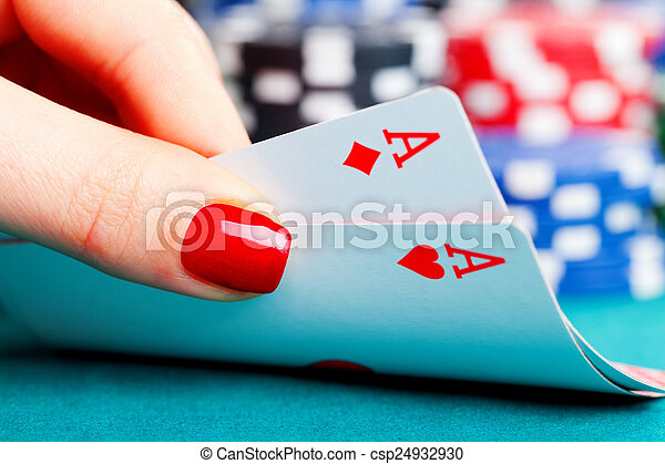 Two aces and gambling chips - csp24932930