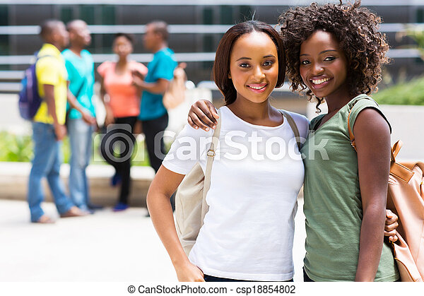 two african american college friends - csp18854802