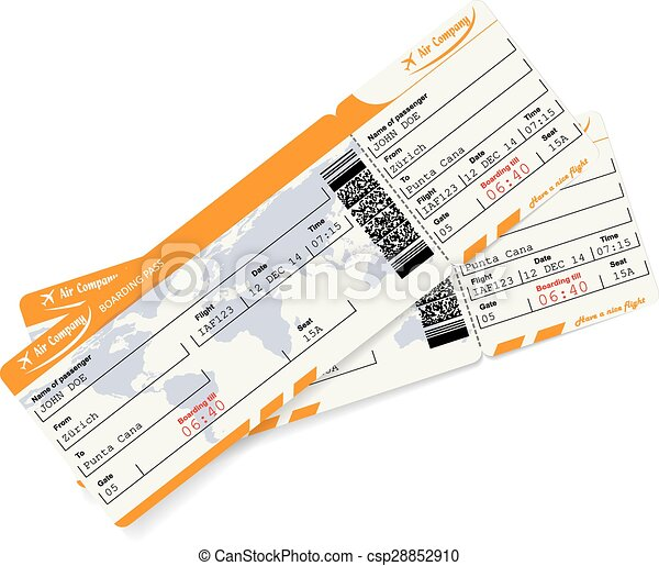 Two airline boarding pass tickets with QR2 code - csp28852910