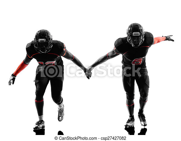 two american football defense players silhouette - csp27427082
