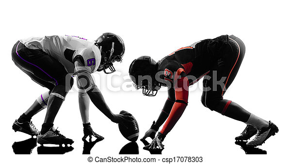 two american football players on scrimmage silhouette - csp17078303