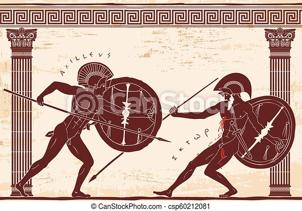 Two ancient Greek warrior
