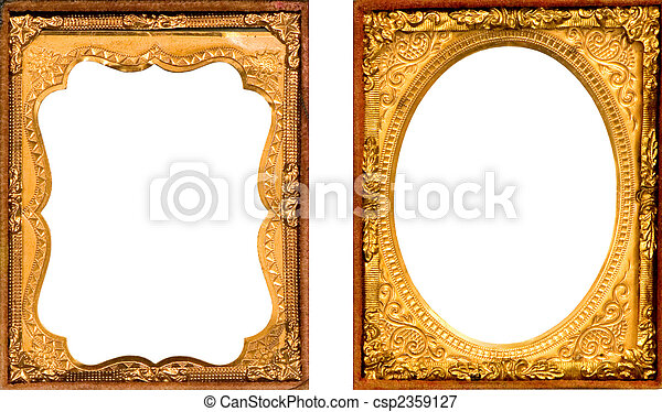 Two antique gold metal picture frame. Two daguerreotype gold metal ...