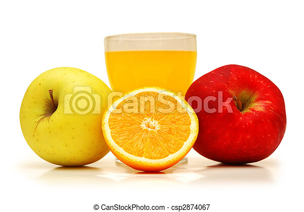Two apples, juice and orange isolated on white - csp2874067