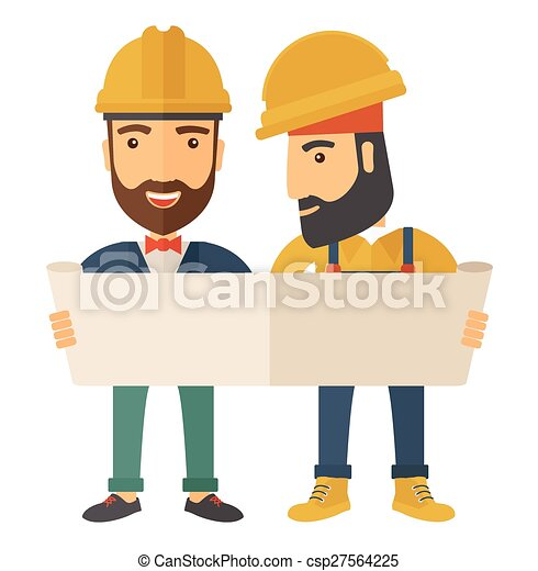 Two architects wearing protection helmets looking at blueprint. - csp27564225