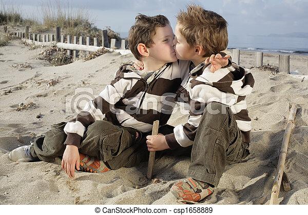Cute boys kissing