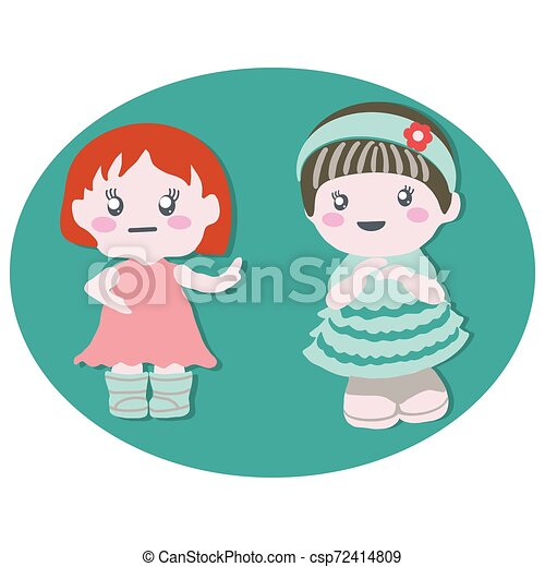Two baby dolls with cute dresses. Baby birthday party. - csp72414809