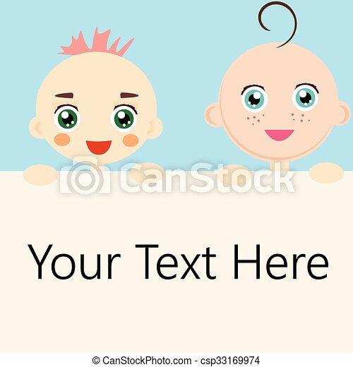 Two baby holding a blank banner - csp33169974