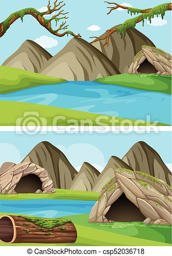 Two background scenes with mountains and rivers - csp52036718