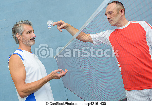 Two badminton players stock photos - Search Photographs ... Badminton Players Position