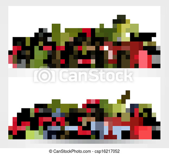Two banners with delicious ripe berries. Vector. - csp16217052