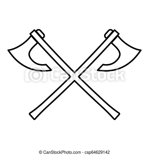 cf233e920c4dd Two Battle Axes Vikings Icon Black Color Vector Illustration Flat Style  Image