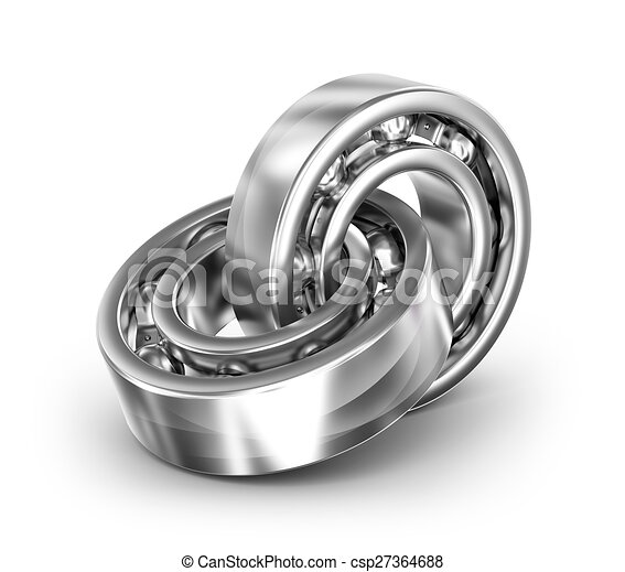 Two bearings linked together on white background - csp27364688