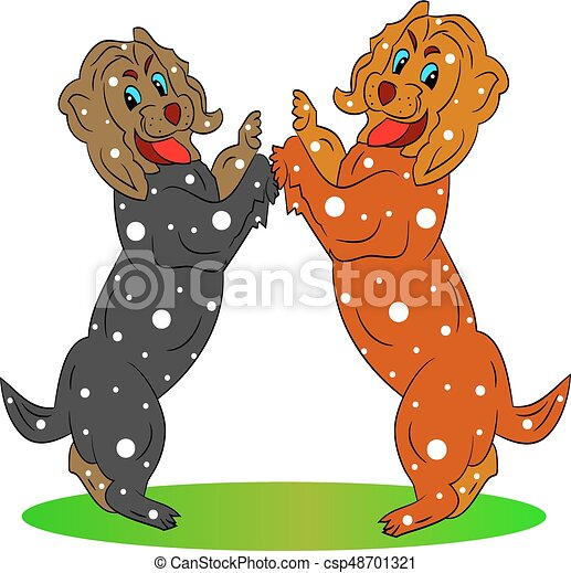 Two beautiful festive dogs, cartoon on a white background. - csp48701321