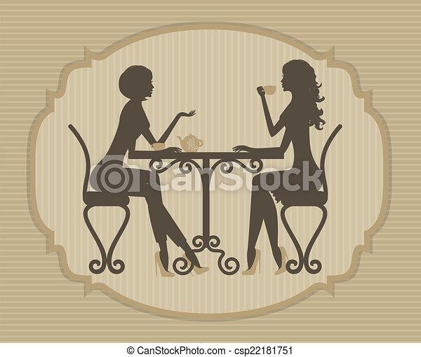 two beautiful girls talking - csp22181751
