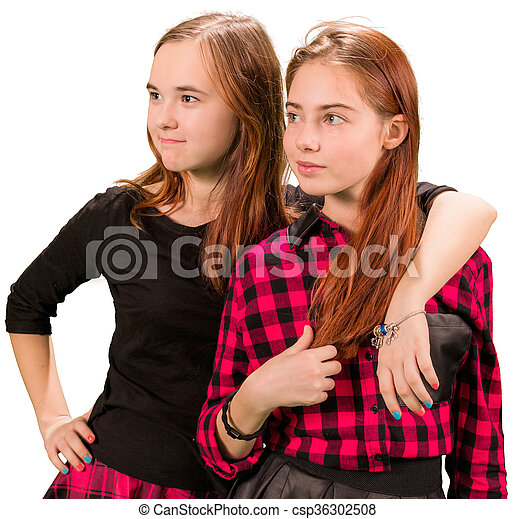 Two beautiful teen girls in red and black clothes - csp36302508