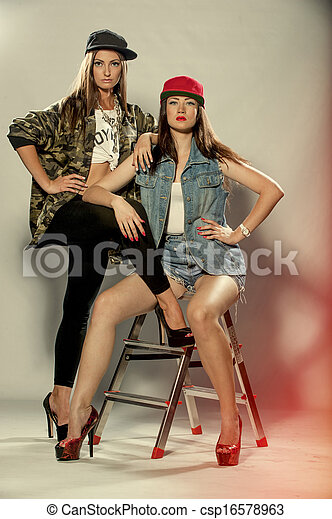 two beautiful women model - csp16578963