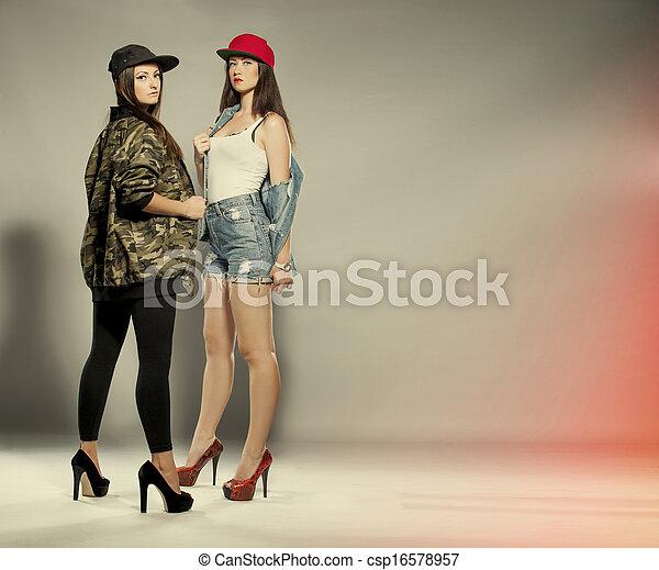 two beautiful women model - csp16578957