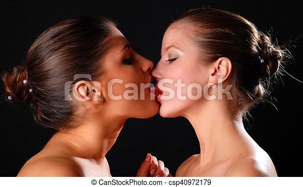 Two Beautiful Women Kissing