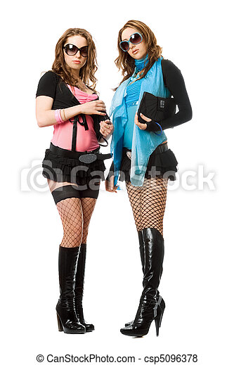 Two beautiful young women. Isolated - csp5096378