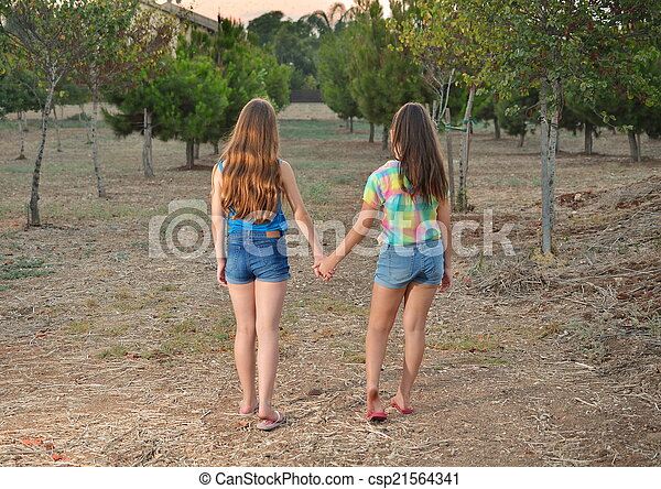 Two best friend girls holding hands. Best friends forever ...