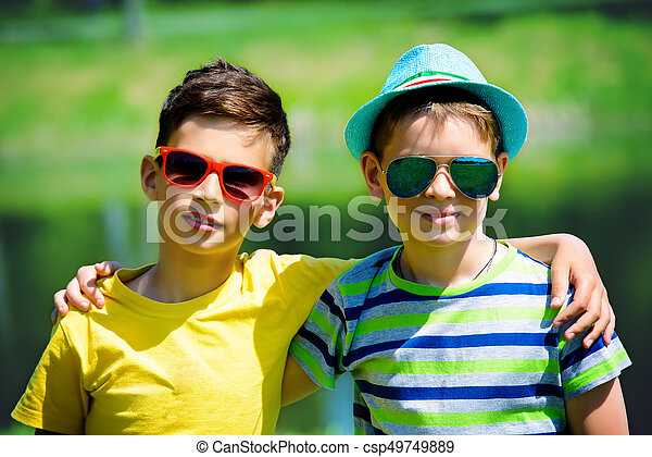 Two Best Friends Portrait Of Two Boys Friends In The Park On A Sunny Day Summer Holidays Friendship