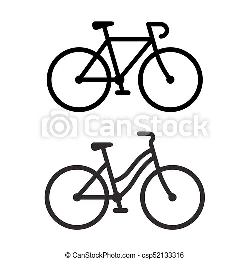 Two Bike Icons Two Bike Silhouette Icons Sporty Road Bicycle And
