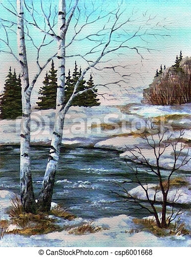 Two birches at the river, spring - csp6001668