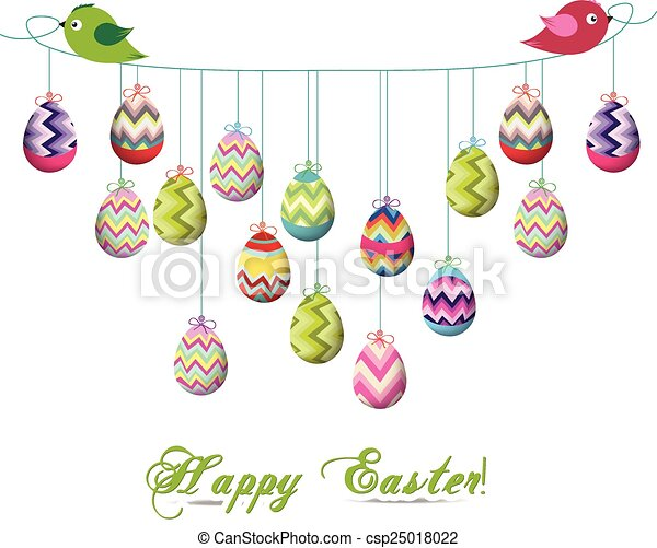 Two Birds Hold Rope With Easter Egg